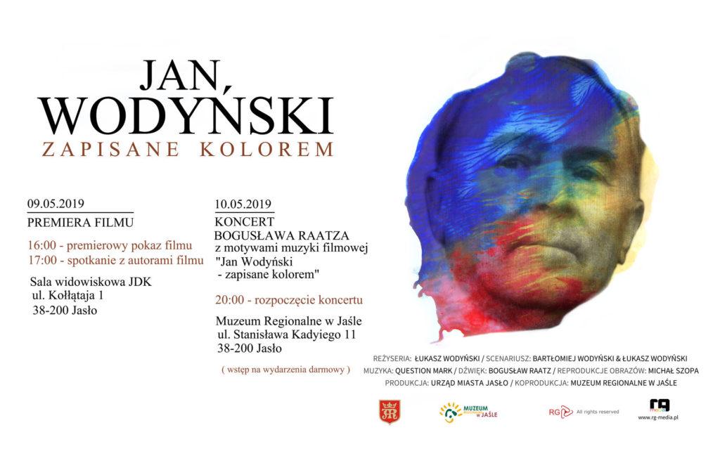 Jan Wodyński - Zapisane kolorem. Baner interneowy z informacjami o koncercie.